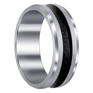 Men's Stainless Steel Two Tone 8 mm Band with Black Woven Steel Design