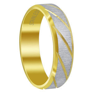 Men's Stainless Steel Two Tone 8 mm Comfort Fit Band with Brushed Design