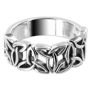 925 Silver Polished Finish 6mm Celtic knot Triquetra Ring
