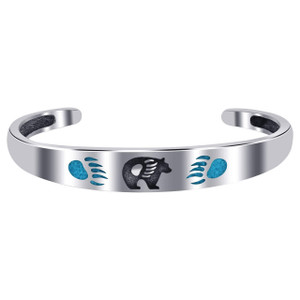 925 Sterling Silver 10mm wide Bear Claw Print Turquoise Cuff Bracelet