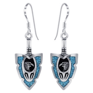 925 Silver Turquoise Eagle French Hook Drop Earrings