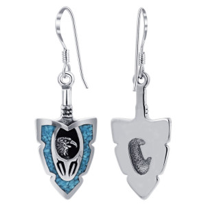 Arrowhead Eagle southwestern Style Turquoise Sterling Silver Drop Earrings