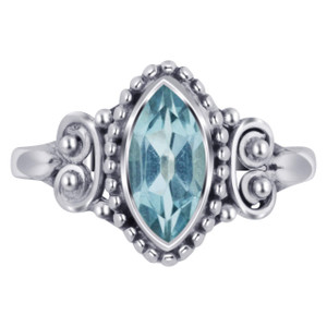 925 Silver Marquise Blue Topaz Gemstone Bali Women's Ring