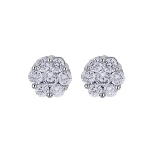 925 Sterling Silver Clear Cubic Zirconia 8mm Floral Stud Earrings