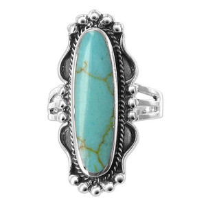 925 Silver Reconstituted Turquoise Ornate Ring