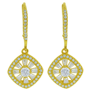 Gold over 925 Sterling Silver Cubic Zirconia Vermeil Drop Earrings