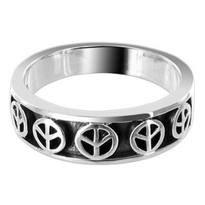 925 Sterling Silver Oxidized Finish Peace Signs 4mm Engraved Band