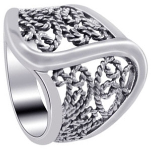 925 Sterling Silver Polished Finish Braided Ring