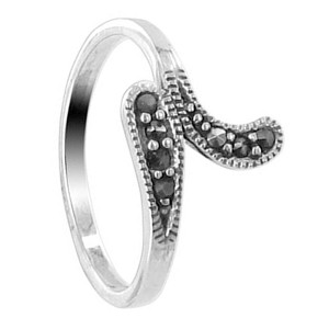 925 Sterling Silver Marcasite 11mm Swirly Ring #LWRS191