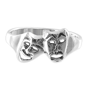 925 Sterling Silver Polished Finish 12 x 8mm Twin Masks Ring
