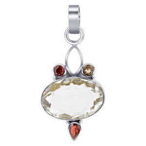 925 Sterling Silver Oval Citrine Gemstone Pendant
