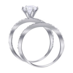 Cubic Zirconia Promise Wedding Ring Set