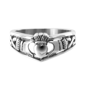 Sterling Silver Irish Claddagh Love Heart Friendship Ring