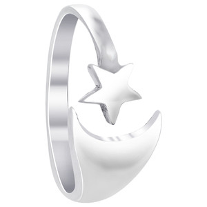 925 Sterling Silver Polished Finish 9 x 4mm Crescent Moon and 5mm Star Ring