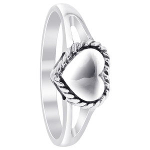 925 Sterling Silver Polished Finish 9mm x 7mm Heart Ring