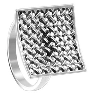 925 Sterling Silver Polished Finish 18mm Square Racket Ring