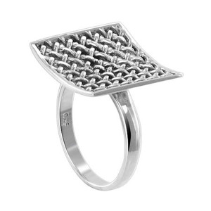 925 Silver Polished Finish 18mm Square Racket Ring