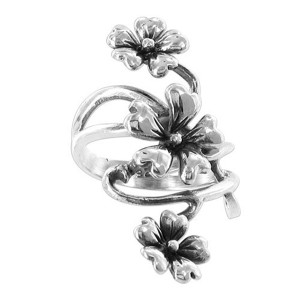 925 Sterling Silver Polished Finish 37 x 13mm Flower Front Ring