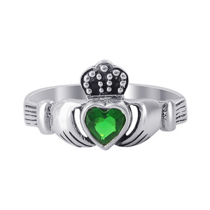 Sterling Silver Irish Claddagh Emerald CZ Ring #LWRS219
