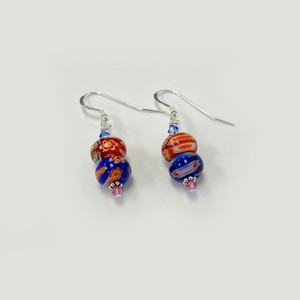Millefiori Glass Multicolor Drop Earrings