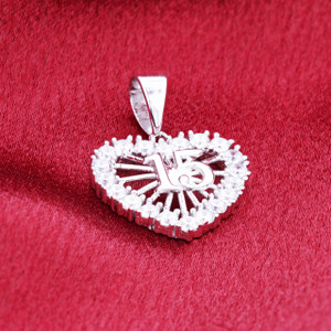 Sterling Silver Sweet 15 CZ Heart Pendant