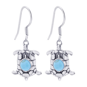 925 Sterling Silver Simulated Turquoise Turtle French wire Drop Earrings