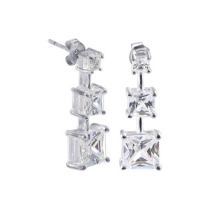 Cubic Zirconia Post Back 23mm Drop Earrings