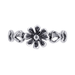 925 Sterling Silver 7mm Floral and Open Heart Ring