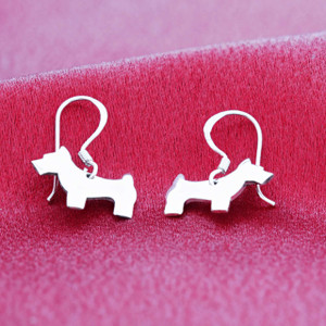 .925 Sterling Silver Dog Dangle Earrings with French Wire Hook