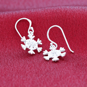 925 Silver Polished Snow Flake Dangle Earrings with French Hook