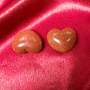 ONE Goldstone Collectible Heart Shape Stone 1 x 1.5 Inch
