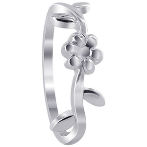 925 Sterling Silver 5mm Flower curly vine design Ring