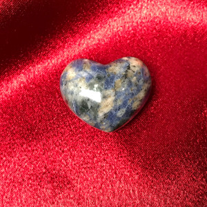 ONE Sodalite Collectible Heart Shape Stone 1 x 1.5 Inch