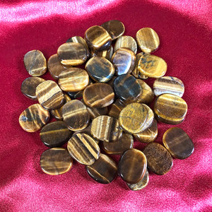 ONE Natural Tiger's Eye Gemstone Pocket Size Palm Stone Crystal 1 Inch