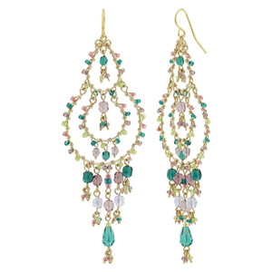 Multicolor Seed Bead Handmade 3.5 Inch Chandelier French Hook Earrings