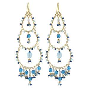 Blue Seed Bead Chandelier French Hook Earrings