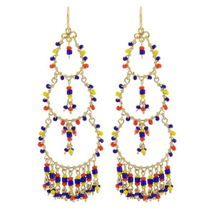 "Multicolor Seed Bead Handmade 3.5"" Chandelier French Hook Earrings"