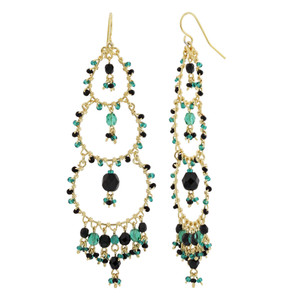 Black & Green Seed Bead Chandelier French Hook Earrings