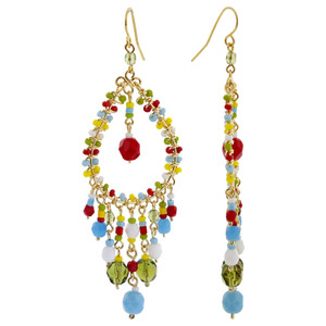 Multicolor Seed Bead Handmade 3 Inch French Hook Chandelier Earrings