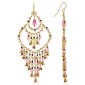 Multi Seed Bead Handmade 3.5 Inch French Hook Chandelier Earrings