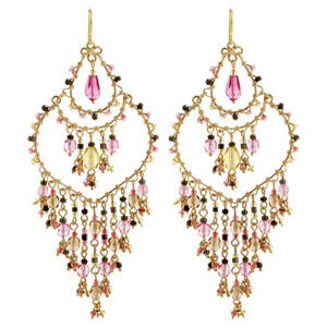 Multi Seed Bead French Hook Chandelier Earrings