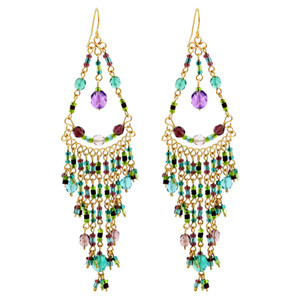 Multicolor Seed Bead Chandelier Earrings with French Hook