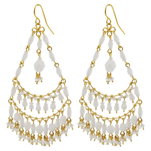 White Seed Bead Handmade 2.75 Inch Chandelier French Hook Earrings