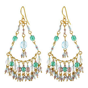 Multi Seed Bead Handmade 2.5 Inch Chandelier French Hook Earrings