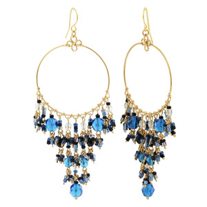 Dark Blue Seed Bead Chandelier French Hook Earrings