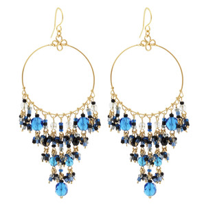 Dark Blue Seed Bead Handmade 3.25 Inch Chandelier French Hook Earrings