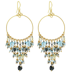 Multi Seed Bead Handmade 3 Inch Chandelier French Hook Earrings