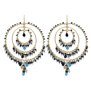 Multi Seed Bead Chandelier French Hook Earrings
