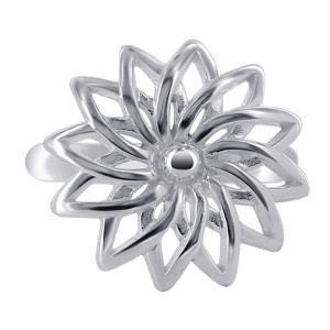 925 Sterling Silver 18mm Flower Ring #MRRS010
