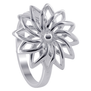 925 Sterling Silver 18mm Flower Ring